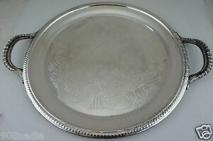 Antique Silver Plate Round Handled Etched Serving Tray