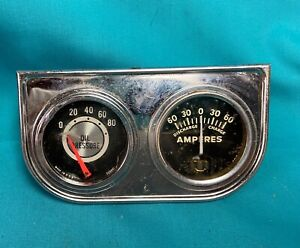 Vintage 1960 S Mechanical Oil Amperes 2 Gauges Used