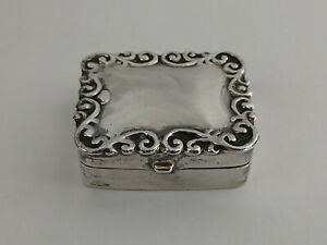 Antique Sterling Silver Repousse Pill Snuff Box Hallmarked