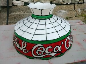 Vtg  Extra Large Drink Coca Cola Coke Tiffany Style Plastic Hanging Lamp Shade