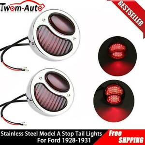 2x Retro Model A Style Stainless Steel Brake Stop Tail Lights For Ford 1928 1931