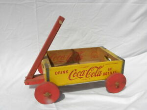 Chattanooga 1963 Wooden Yellow & Red Drink Coca-Cola in Bottles Crate Wagon