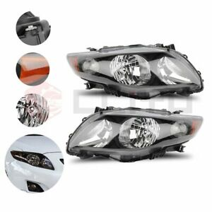 Headlights For 2009 2010 Toyota Corolla Black Housing Headlamps Clear Lens