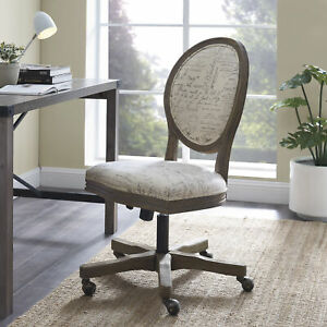 Erin Script Printed Linen Upholstered Office Chair Hand carved Wood Rustic Base