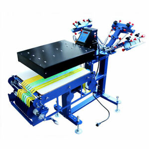 Multi function 3 Color Screen Printing Ribbon Press Printer With Rotary Dryer