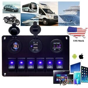 Usb Charging Abs 12v 24v 6 Gang Rocker Switch Panel Dual Usb Waterproof Circuit