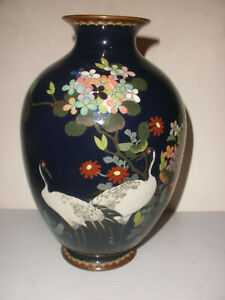 Antique Japanese Meiji Era Cloisonne Cobalt Vase With Crane Floral Decoration