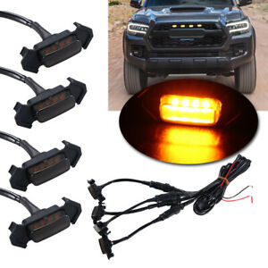 4pcs Front Grille Amber Led Lights Kit For 2016 Up Toyota Tacoma W Trd Pro Grill