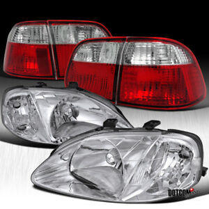 For 1999 2000 Civic 4dr Sedan Crystal Chrome Headlighs red Clear Rear Tail Lamps
