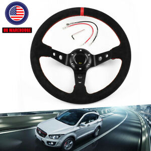 Steering Wheel Universal 14 350mm Car Sport Racing Type Suede Leather With Logo