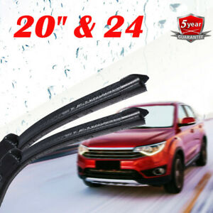 24 20 Windshield Wiper Blades Premium Hybrid Rubber J Hook High Quality