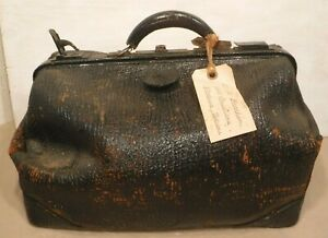 Vintage Large Leather Doctor S Carry Bag Antique Travel Bag W Nice Patina Loo
