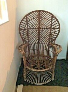 Peacock Chair Vintage Antique Wicker Rattan Classic Pattern Sturdy