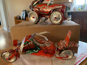 """2-COCA COLA CAN ART """"RARE"""" HOT ROD AND CHOPPER MOTORCYCLE"""