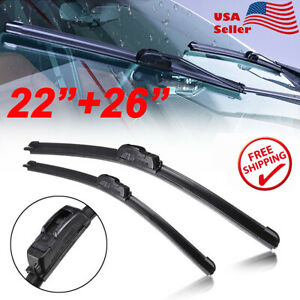 22 26 All Season Bracketless Windshield Wiper Blades Premium Hybrid Rubber
