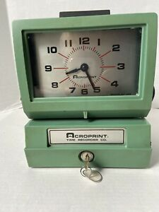 Works Vintage Acroprint 125nr4 Time Recorder Manual Punch Card Clock W key