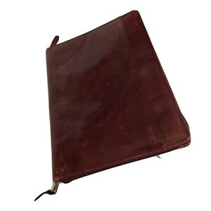 Distressed Burgundy Pad Holder 12 5x9 5 Leather Zippered Pockets Writing Pad