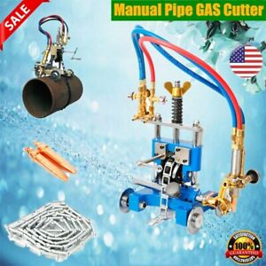 Cg 211y Manual Pipe Cutting Beveling Machine Track Torch Burner Chain Gas Cutter
