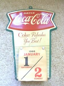 VINTAGE ORIGINAL DRINK COCA-COLA FISHTAIL CALENDAR FULL 1966 PAGE A DAY SHEETS
