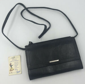 NWT Vtg Fossil Wallet On a String Organizer BagPurse Crossbody Leather BLACK $29.98
