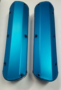 Blue Sb Ford Fabricated Aluminum Tall Valve Covers Sbf 289 302 351w