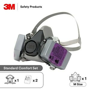 3m 6300 Reusable Half Face Respirator With Pair 7093 P1oo Filters Set Large