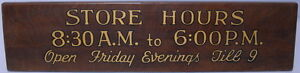 Lignum Vitae Wooden Store Hours Desk Table 8 30 Am To 6 00 Pm Wood Sign