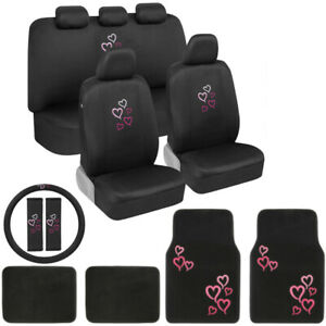 Pink Red Hearts Car Seat Covers Floor Mats Steering Wheel Cover Set