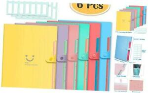 Selizo 6 Pcs Expanding File Folder With 5 Pockets Organizer Plastic A4 Size And