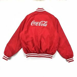 Coca Cola Vintage Employee Uniform Red Bomber Jacket Marty Spell Out Size XL