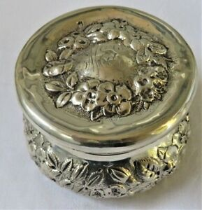 Antique Simons Bros Sterling Silver Lidded Dresser Jar Box Floral Repousse