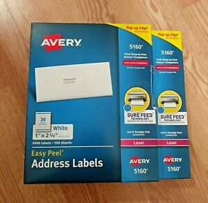 Avery 5160 Easy Peel Address Labels 1 X 2 5 8 2 boxes 6 000 Labels New