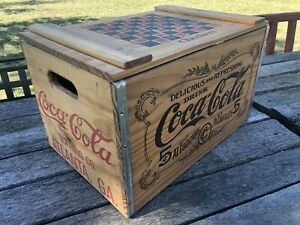 Wooden Coca Cola Crate With Checker Board And Checkers no Reserve auction style!