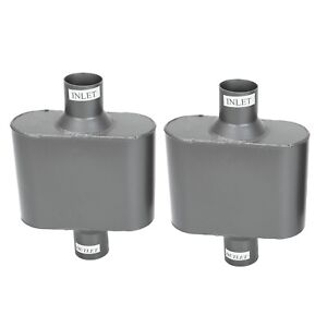 Pair Of 2 25 Inlet Outlet Single Chamber Performance Race Muffler