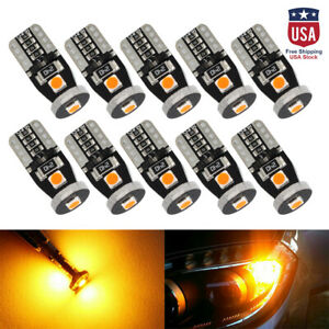 10x Amber Yellow High Power T10 Canbus 3smd 3030 Led Light Bulbs W5w 168 194 12v