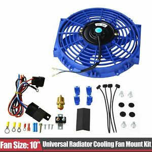 10 Blue Electric Radiator Cooling Fan Thermostat Relay Mounting Kits