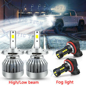 White Led Headlights Hi lo Beam Fog Lights Bulbs Pkg For Toyota Tacoma 2012 2015
