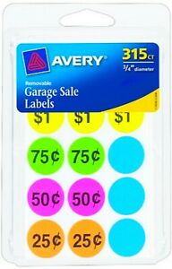 Round Garage Sale Stickers Neon Price Tags Labels Removable Adhesive Avery 6725