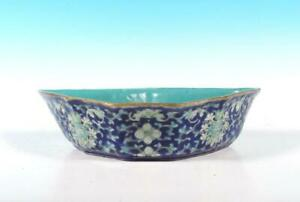 Chinese Antique Late Qing Batwing Form Porcelain Famille Rose Bowl Blue Enamel