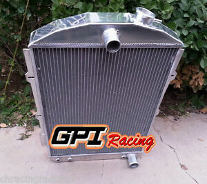 Fit Chevy Hot street Rod 350 V8 W tranny Cooler 1938 At Aluminum Radiator 56mm