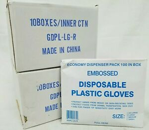 Lot Of 2000 Safety Zone Single Use Embossed Plastic Gloves Gdpl lg r