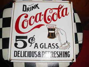 Unusual Porcelain Coca Cola sign with 5 CENTS A GLASS
