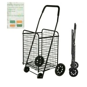 Folding Shopping Cart Jumbo Basket Grocery Laundry Travel W Swivel Wheels