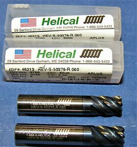 Brand New Helical 5 Flute Carbide Bull End Mill 3 8 Dia X 0 060cr Aplus Coated