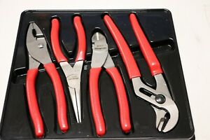 Snap On 4 Pc Pliers Cutters Set Red Snapon Pl400b