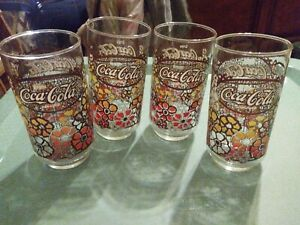 Vintage Coca Cola Drinking Glass 1960's  Hibiscus Flowers lot of 4