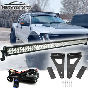 For Ford F150 Svt Raptor 52 Straight Led Light Bar Roof Mount Bracket Wire Kit