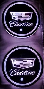 Caddy Cadillac Led Car Logo Cup Holder Light Insert W 7 Color Selections 2 Pcs