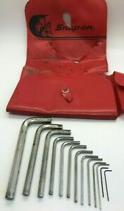 Vtg 15pc Snap On Tools Sae Hex Key Set Lot Allen Wrench 028 3 8 Red Case
