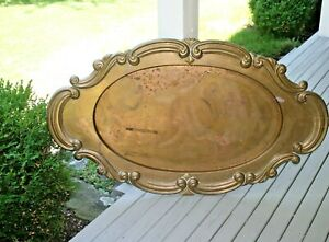 Large Vintage Brass Tray Coffee Table Top Marked Mottahedeh India 53 X 31 Huge